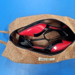 Shoe Bag/Wine Bottle Bag/Knitting Needle Bag - Orange Fleck