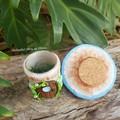 Little Tooth Fairy Mushroom house Trinket Jar - Light Blue