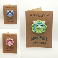 Handmade Birthday Card with Crochet Dinosaur