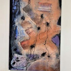 """""""Hanging by a thread"""" Original abstract textured Art painting 60.9x91.4cm"""