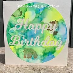 Green/Blue Happy Birthday Alcohol Ink Handmade card