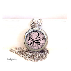 Pocket watch pendant necklace pink and black