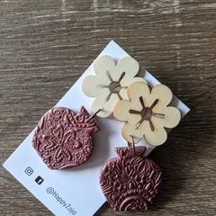 Extra Large Flower Pot Earrings Wooden Tops