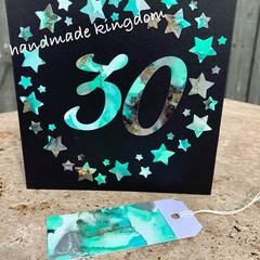 30th Birthday Alcohol Ink Handmade card