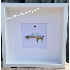 Birds and watercolour flowers Sea Glass Art