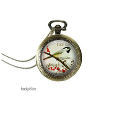 Pocket watch pendant necklace Bird