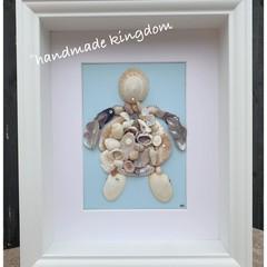 Turtle Sea Glass Art with genuine Swarovski crystals