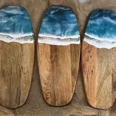 Ocean inspired , Handmade resin coated wood serving boards 51 cm x 21 cm