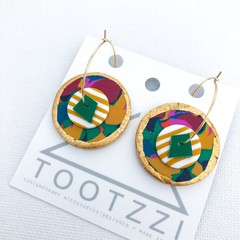 STREET PARTY - Layered Hoops - Mustard Stripes - Statement Earrings