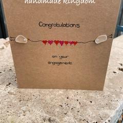 Engagement Sea Glass Handmade card