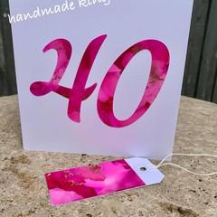 40th Birthday Alcohol Ink Handmade card