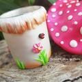 Little Tooth Fairy Mushroom house Trinket Jar - Fuchsia Pink