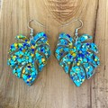 Monstera leaf acrylic hook dangle earrings with teal green  glitter