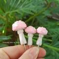 Pink Mushroom Fairy Garden set