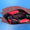 Shoe Bag/Wine Bottle Bag/Knitting Needle Bag - Burgundy Fleck