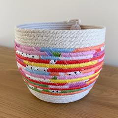Medium Round Basket - with Multi-Coloured Fabric