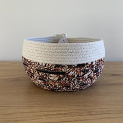 Medium Round Basket - with Brown Patterned Fabric