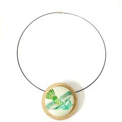 Circular Timber Pendant - Green Bird