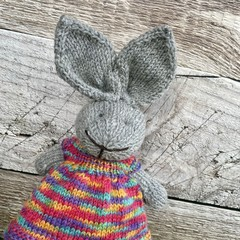 Harriet the Knitted Bunny Rabbit Toy with Rainbow Party Dress