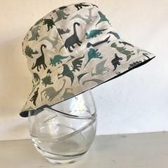 Boys summer hat in grey/green/teal fabric
