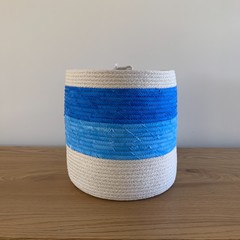 Large Rope Basket with Ombré Blue Fabric Band