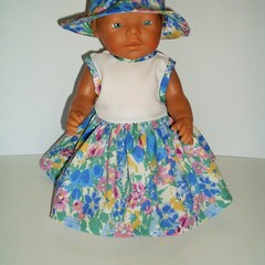 Dress with  Hat for Baby Born Doll 46cm or similar sized dolls