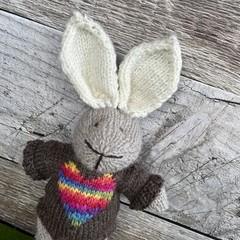 Finn the  Hand Knitted Bunny Rabbit Toy with Cute Rainbow Heart Jumper
