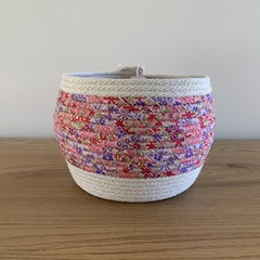 Medium Round Basket - with Pink and Purple Floral Fabric