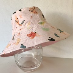 Girls summer hat in fairy and butterfly fabric