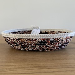 Small Oblong Rope Basket with Brown Patterned Fabric