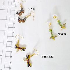 Three pairs of Enamel earrings