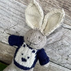 Tom the  Hand Knitted Bunny Rabbit Toy with Cute Bear Jumper