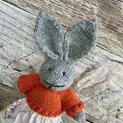 Addison the Knitted Bunny Rabbit Toy with Pooh Bear  Skirt and Orange Jumper