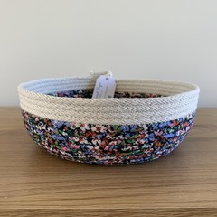 Rope Basket - Catch All - with Navy Blue, Multicoloured Floral Fabric