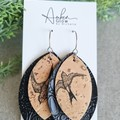 Recycled Cork, Faux Leather Boho Leaf Earrings, Black Bird Print