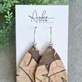 Recycled Cork, Boho Teardrop Earrings, Palm Leaf