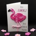 Handmade Card with Crochet Flamingo