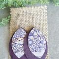 Recycled Cork, Boho Leaf Earrings  Purple Floral