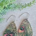 Recycled Cork, Boho Teardrop Earrings, Peacock Feather