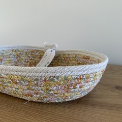 Small Oblong Rope Basket with Mustard Floral Fabric