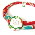 Kimono Cord Necklace Red and Green Florals