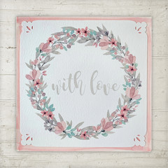 Greeting Card Floral Wreath Soft Pink - Love Anniversary Mother's Day