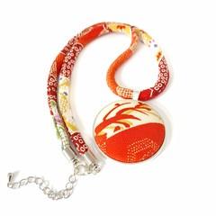 Kimono Necklace Pendant - Orange/Red Florals