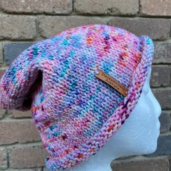 Knitted slouchy beanie pink purple blue ladies or mens merino slouchy beanie col