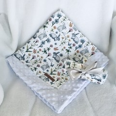Fluffy Bunny baby blanket & burp cloth gift set Babyshower/newborn gift pack