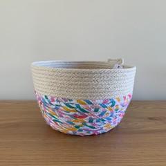 Medium Round Basket - with Multi-Coloured (Rainbow) Fabric
