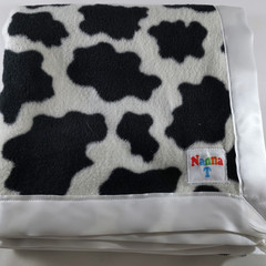 Fleece Baby Blanket - Black & white cow pattern