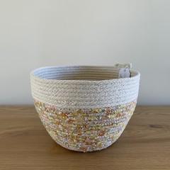 Medium Round Basket - withMustard Floral Fabric