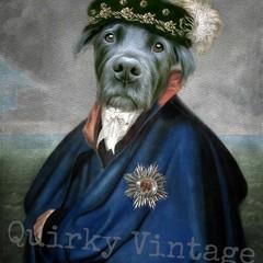 Customised Royal Pet Portrait in Renaissance Costume - Blue Cape