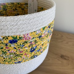 Large Rope Basket with Yellow Floral Fabric Band